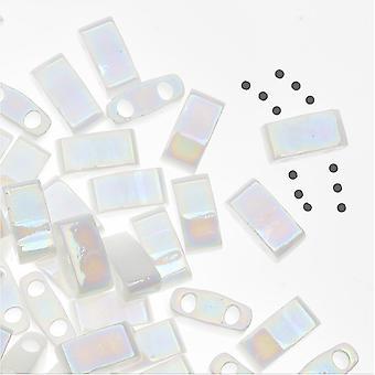 Miyuki Half Tila 2 отверстия прямоугольные бусины 5x2,3 мм - непрозрачный жемчужно-белый 7,8 грамм