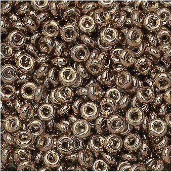 """Toho דמי עגול זרעים חרוזים, דק 8/0 (3 מ""""מ), 7.4 גרם, #204 זהב ברק מונטנה כחול"""