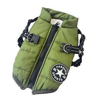 M zelený pes bavlněný polstrovaný bunda-kus bavlněná vesta x3784