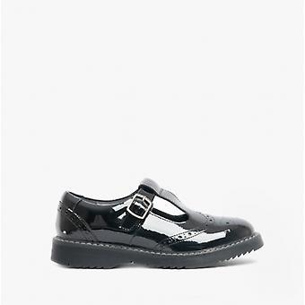 Start-Rite Imagine Girls Leather T-bar School Shoes Patent Black
