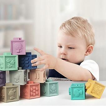 Baby Soft Gummi Bausteine Bad Griff Hand Blöcke Diy Gummi Block Spielzeug