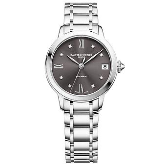 Baume & Mercier M0a10610 Classima Grey Diamond Dial And Silver Automatic Ladies Watch