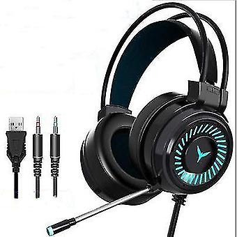 Gaming Headset RGB LED Wired Headphones Stereo with Mic For One/PS4 PC Xbox(Black)