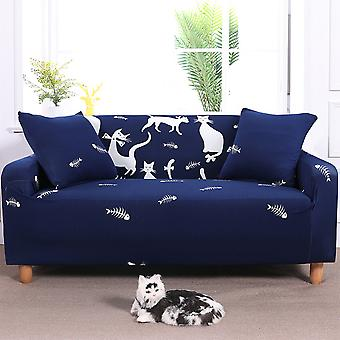 Universal Fitted Stretch Cat Print Sofa Slipcover