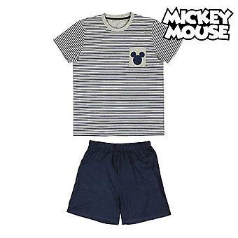 Pijama de verano Mickey Mouse Gris Adultos