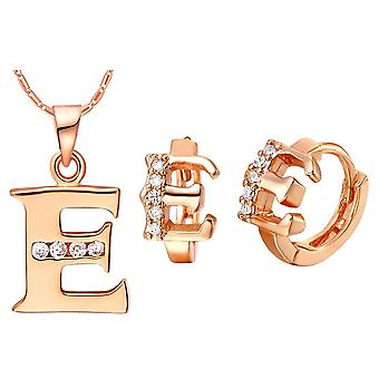 (E)  Alphabet Rhinestone Womens 26 Initial Letter Huggie Earrings Necklace Jewelry Set Rose Gold