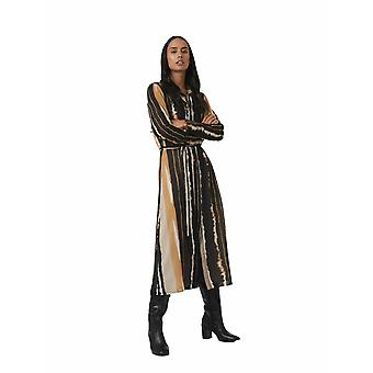 Shuuk Exquisite 70s Inspired Watercolor Plush Midi Shirt Dress with Long Sleeves