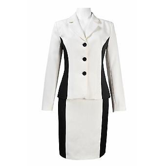 Long Sleeve, Collared Contrast Panel Twill Skirt Set