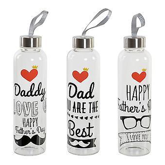 زجاجة مياه عيد الأب DKD ديكور المنزل شفافة Borosilicate الزجاج (550 مل) (3 PCS)