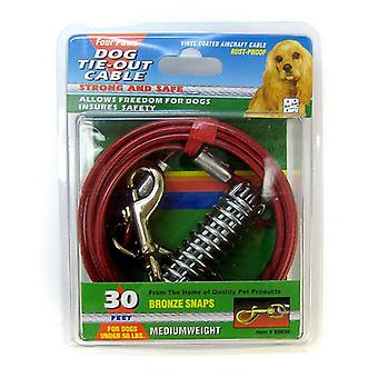 """Four Paws Dog Tie Out Cable - Medium Weight - Red - 30"""" Long Cable"""