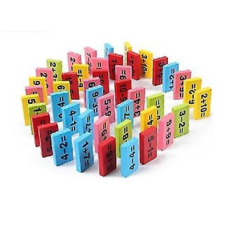 Wooden blocks numeric addition subtraction table baby early learning wood block 1 10 digital operation domino
