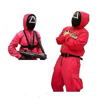Cos Squid Joc Salopeta Costum Villain Red Cosplay Halloween Party Round Mask Man Suit