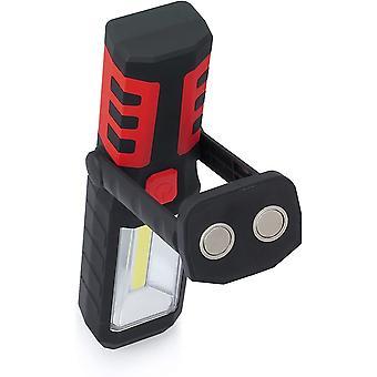 LED Freisprecheinrichtung Arbeitslicht 3 + 1 Cob Taschenlampe Magnetische flexible Lampe 180 Grad Drehung für Diy, Boot, Camping, Nachtfischen Notlicht (rot) -