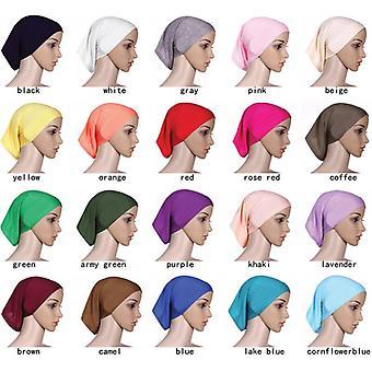 1 Pc Elastic Cotton Turban Hat Solid Color Women Warm Winter Headscarf Bonnet Inner Hijabs Cap Muslim Hijab Femme Wrap Head