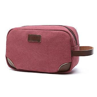 Korean Version Of Thick Casual Portable Canvas Bag, Solid Color Portable Coin Purse, Unisex Storage Bag, Cosmetic Bag