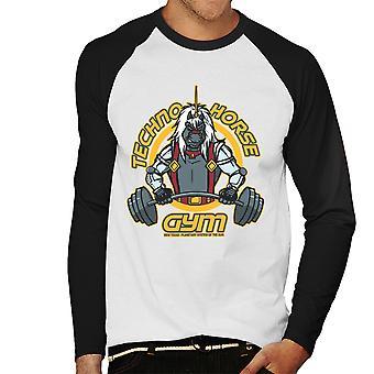 Techno Horse Gym Bravestarr Men's Baseball Long Sleeved T-Shirt