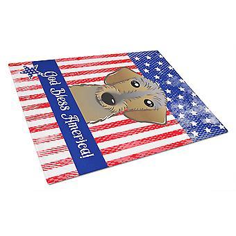 Jumala siunatkoon suklaa Labrador lasinen leikkuulauta suuri amerikkalainen lippu