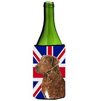Curly Coated Retriever with English Union Jack British Flag Wine Bottle Beverage