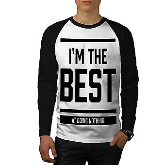 Beste niets doen grappige mannen (zwarte mouwen) honkbal LS T-shirt White | Wellcoda