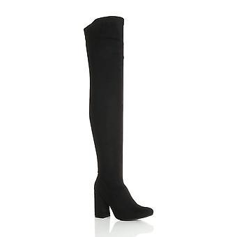 Ajvani womens alta deflagrou bloco calcanhar zip encosta sobre as joelho coxa botas altas