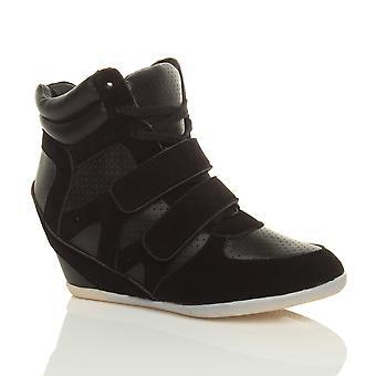 Ajvani womens high heel lace up hidden wedge hi high top trainer ankle boots booties