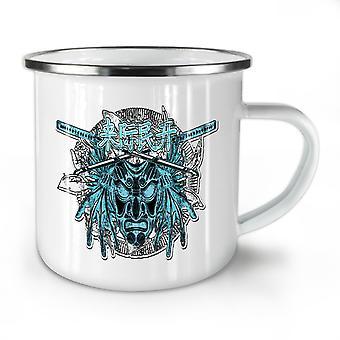 Japan Devil Mask NEW WhiteTea Coffee Enamel Mug10 oz | Wellcoda