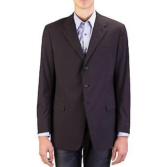 Prada Herren Baumwolle 3-Knopf-Anzug Jacke Sportscoat schwarz Nadelstreifen blau