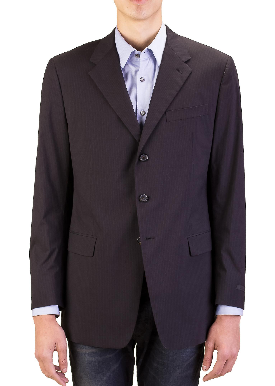 Prada Men's Cotton Three-Button Suit Jacket Sportscoat Black Pinstriped Blue