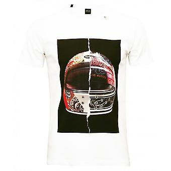 Replay moto casque impression T-Shirt, blanc