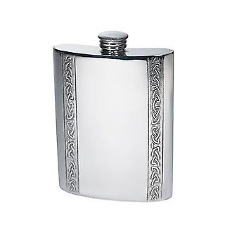 Celtic Vertical Bands Pewter Flask - 6oz