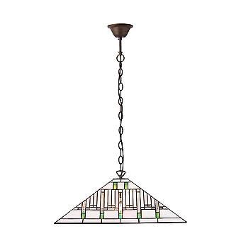 Interiör 1900 uppdrag 3 ljus Tiffany tak hänge med konst