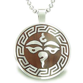 Tibetische Buddha alle sehen dritte Weisheit Auge Holz Amulett Kreis Anhänger Halskette