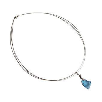 Hjerte halskæde lys blå RETO 925 sølv hjerte halskæde krystal element hjerte vedhæng