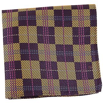 Knightsbridge Neckwear Checked Silk Pocket Square - Navy/Gold