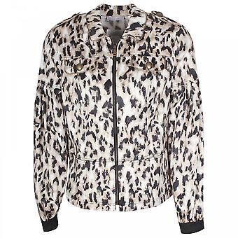 Tuzzi Long Sleeve Leopard Print Bomber Jacket