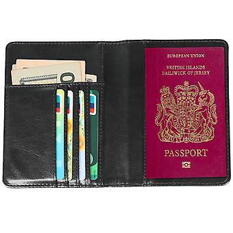 TRIXES Black Leather Passport Wallet Travel Portable Money Boarding Passes Credit Cards