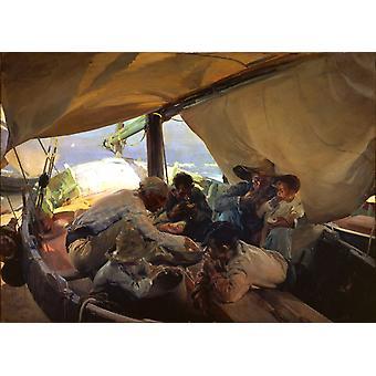 Eating on the Boat,Joaquin Sorolla Y Bastida,60x40cm