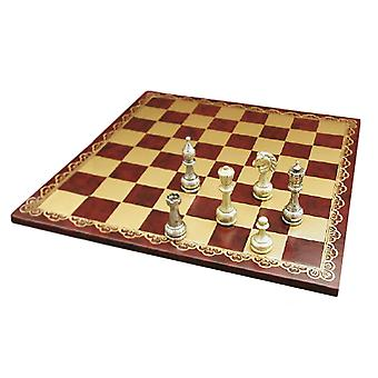 Large Metal Staunton Chess Set With Leather Board