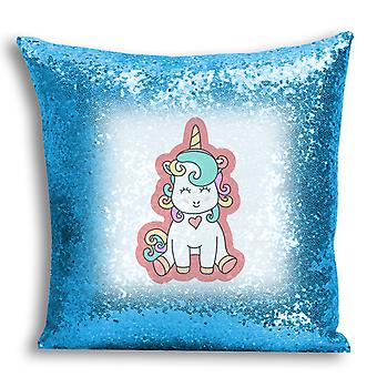 i-Tronixs - Unicorn Printed Design Blue Sequin Cushion / Pillow Cover with Inserted Pillow for Home Decor - 19