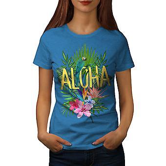 Hawaii Aloha Parrot Women Royal BlueT-shirt   Wellcoda