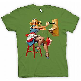 Kids T-shirt - Vintage Pin Up On The Telephone - Retro Design