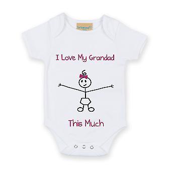 I Love My Grandad This Much Girls White Baby Grow