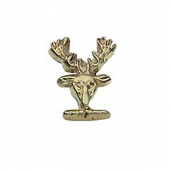 9ct Gold 10x8mm Stags head embossed Tie Tack