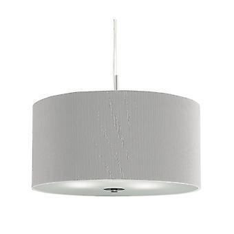 Tamburo piega piccolo cromato a sospensione con diffusore in vetro e grigio ombra - Searchlight 2353-40SI