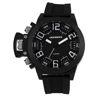 CEPHEUS CP901-622A-men's wristwatch, silicone, color: black