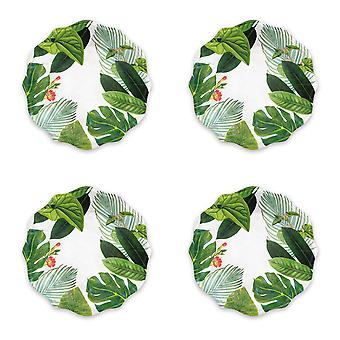 Epicurean Set van 4 platte borden van de Amazon Floral Melamine