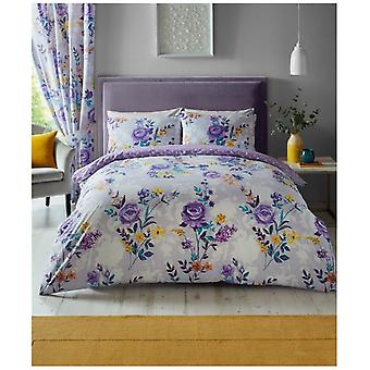 Ciara Rose Floral Printed Duvet Quilt Cover Reversible Modern Bedding Set