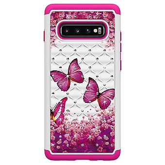 Samsung Galaxy S10+ TPU-Skal Armor Extra Tåligt - Pink Butterflies