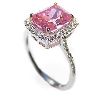Ah! Biżuteria Kobiety's Radaint Różowy Sześcienny Cyrkonia Ring Sterling Silver