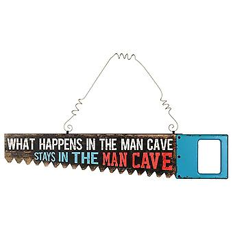Grindstore What Happens In The Man Cave Saw Shaped Tin Sign